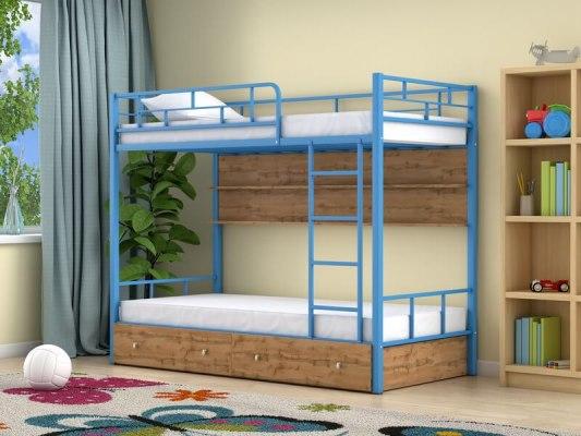 Кровать двухъярусная металлическая Ницца с ящиками и полками 3