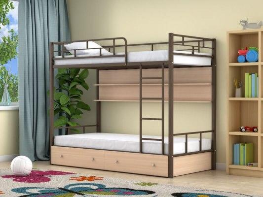 Кровать двухъярусная металлическая Ницца с ящиками и полками 4
