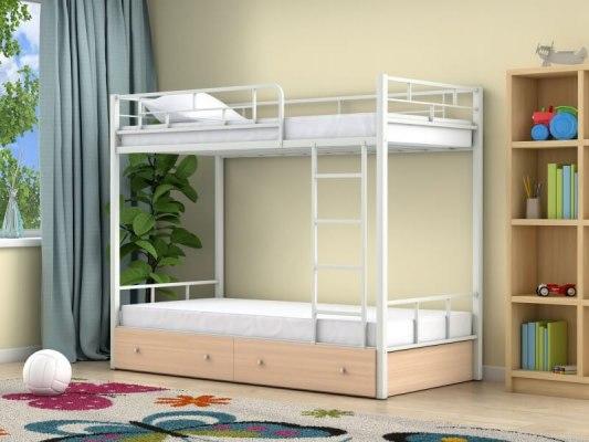 Кровать двухъярусная металлическая Ницца с ящиками 1