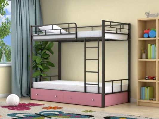 Кровать двухъярусная металлическая Ницца с ящиками 2