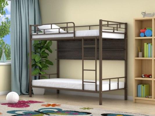 Кровать двухъярусная металлическая Ницца с полками 1