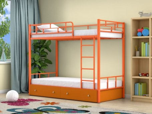 Кровать двухъярусная металлическая Ницца с ящиками 3