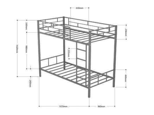 Кровать двухъярусная металлическая Ницца с полками 3