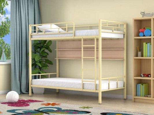 Кровать двухъярусная металлическая Ницца с полками 2