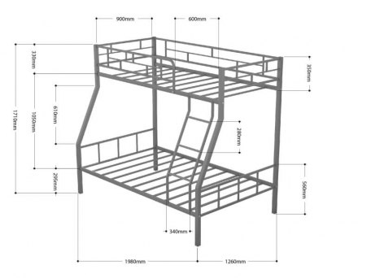 Кровать двухъярусная металлическая Раута с ящиками 3
