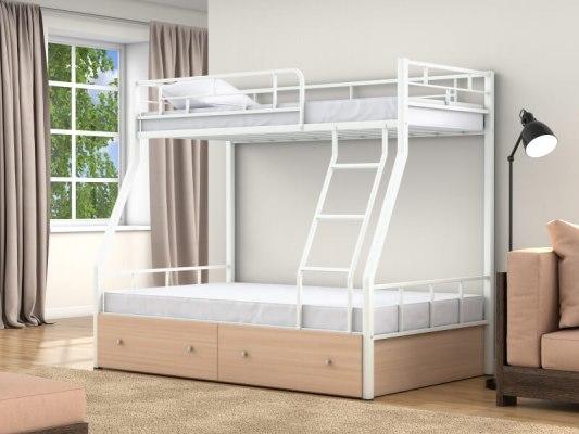Кровать двухъярусная металлическая Раута с ящиками 1