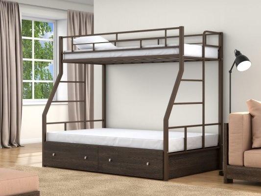 Кровать двухъярусная металлическая Раута с ящиками 2